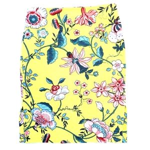 Loft Yellow Floral Tapestry Pencil Skirt